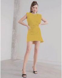 Свободна къса дамска рокля в горчица - код 625