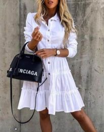 Разкроена дамска рокля в бяло - код 1366
