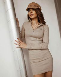 Дамска рокля в бежово - код 4288