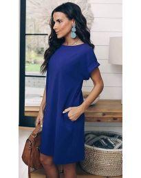 Свободна дамска рокля в тъмно синьо - код 659