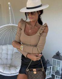 Блуза в бежово с ефектни ръкави - код 2380