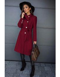 Дамско палто с колан в бордо - код 396