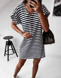 Раирана дамска рокля в черно - код 12006