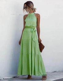Дълга рокля в зелено с атрактивен десен - 6214 - 7