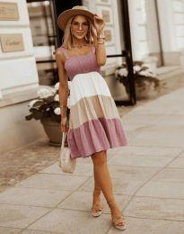 Кокетна дамска рокля в цвят пудра - код 11922