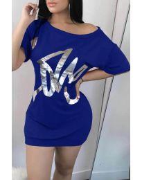 Дамска рокля в цвят синьо - код 1100