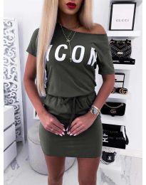 Свободна дамска рокля в маслено зелено - код 9905