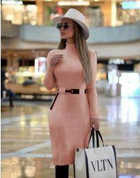 Елегантна дамска рокля в розово - код 2932