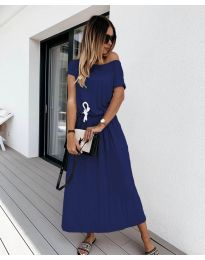 Изчистена рокля в  тъмно синьо - код 4151