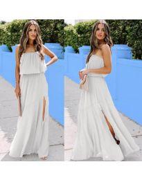 Дълга рокля с цепка в цвят бяло- код 061