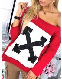 Блуза с голям принт в червено - код 575