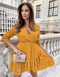 Атрактивна дамска рокля в цвят горчица - код 0545