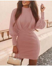 Дамска рокля в цвят пудра - код 4016