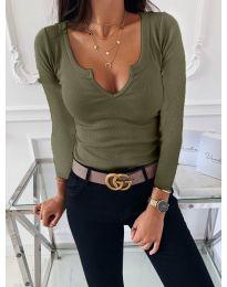 Изчистена дамска блуза в маслено зелено - код 875