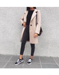 Дълго дамско палто в бежово - код 950
