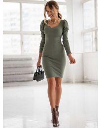 Дълга рокля по тялото в масленозелено - код 11548