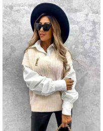 Бежов дамски пуловер с риза - код 6653