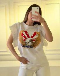 Атрактивна тениска с принт в бяло - код 1436