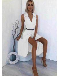 Дълга рокля с яка в бяло - код 312