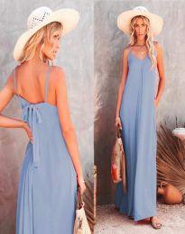 Свободна дамска рокля в светлосиньо - код 4673