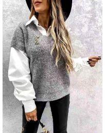 Сив дамски пуловер с риза - код 6653