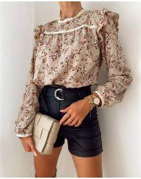 Дамска риза с флорален десен   - код 7703 -1