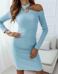 Атрактивна дамска рокля в светлосиньо - код 0984