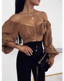 Къса дамска блуза с ефектни ръкави в кафяво - 1112