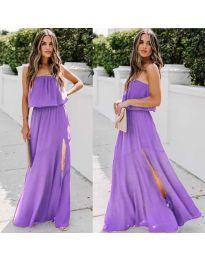 Дълга рокля с цепка в цвят лилаво - код 061