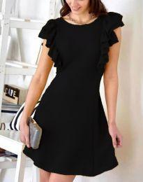Къса  рокля в черно с атрактивен гръб - код 2558