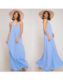 Свободна дълга рокля в светло синьо - код 0508