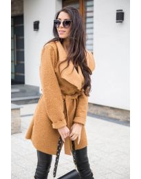 Дамско палто букле в кафяво - код 373