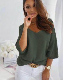 Дамска блуза в маслено зелено - код 901