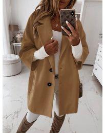 Дамско палто с копчета в кафяво - код 413