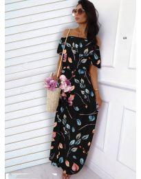 Черна рокля с десен на листа - код 354