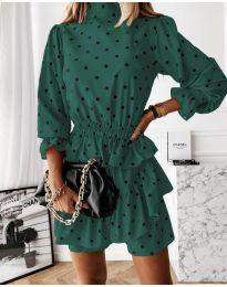Дамска рокля в тъмно зелено - код 3665