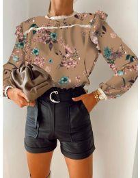 Дамска риза с флорален десен - код 7703 -4