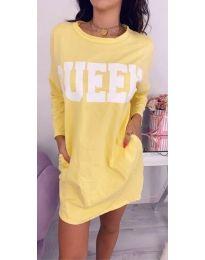Спортна рокля с дълги ръкави в жълто - код 883