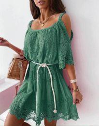 Атрактивна рокля в зелено с дантела - код 6954
