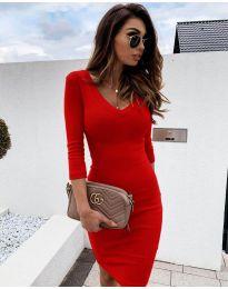 Изчистена рокля в червено - код 4040
