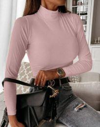 Дамска блуза с поло яка в розово - код 6087