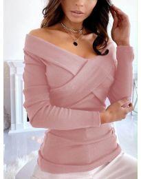 Екстравагантна дамска блуза в цвят пудра - код 0308
