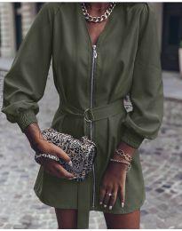 Дамска рокля с цип в маслено зелено - код 820