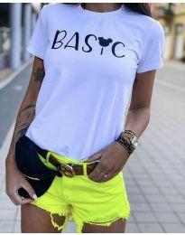 Дамска тениска с къс ръкав в бяло - код 3017