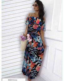 Черна рокля с флорален десен - код 354