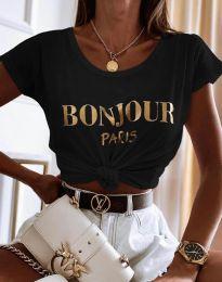 Атрактивна дамска тениска в черно - код 0777