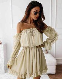 Атрактивна дамска рокля в цвят шампанско - код 0223