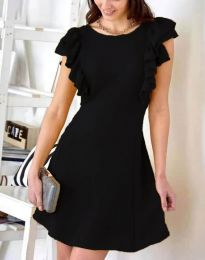 Дамска рокля в черно с къдрички - код 7111