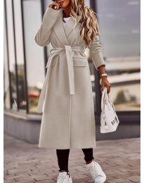 Дамско палто с колан в бежово - код 7989