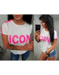 Дамска тениска в бяло с надпис в циклама - код 474